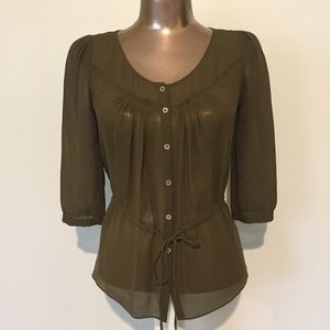 J CREW 100% SILK Olive Green Button Cinch Blouse